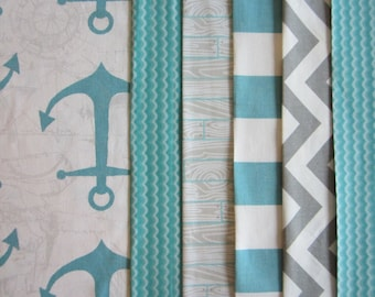Aqua Anchor Crib/Toddler Bed Quilt with Matching Fitted Crib Sheet and Crib Skirt and Rail Guard