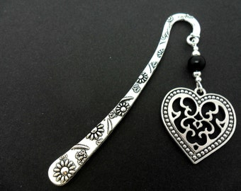 A tibetan silver & black onxy bead  heart charm bookmark.