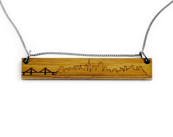 San Francisco Skyline Necklace - Etched Bamboo San Francisco Necklace