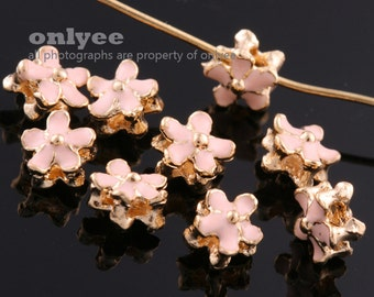 6pcs-6.5mmX6.5mmX4mmBright Gold plated Brass Epoxy Flower Double Side for Beads,Charms,Pendants for making jewelry-Peach(K1165G-B)