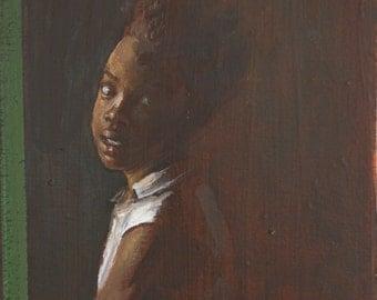 Girl - Original oil painting on wood (22.7cm x 15.8cm)