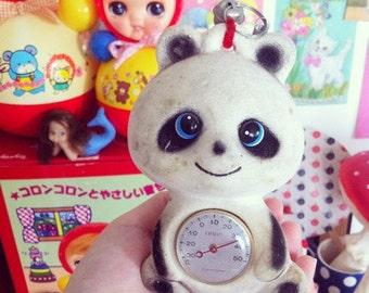 Cute vintage 60s thermomiter panda flocked ceramic figurine from Japan