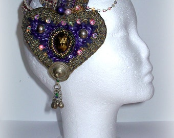 Purple Hearts - tribal, tribal fusion bellydance, burning man, carnival headpiece, headdress