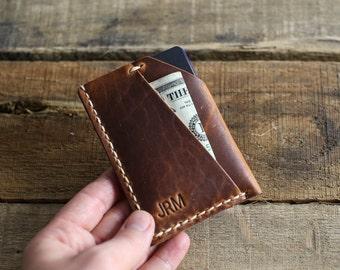 Horween Leather Wallet // Custom Slim Front Pocket Wallet // Horween Leather English Tan