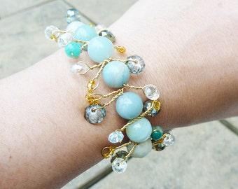 Opague Pale Blue Gold Wire Twisted Amazonite Bracelet