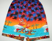 Vintage '94 Bugs Bunny & Taz Surfing Boys Shorts Size 7 Elastic Band - Warner Bros - Looney Tunes