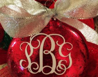Glitter Monogrammed Christmas Tree Ornament