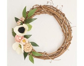 Wreath || Wreaths || Flower Wreath || Twig Wreath || Spring Wreath || Felt Flower Wreath || Modern Wreath || Wedding Wreath || Wreath Decor