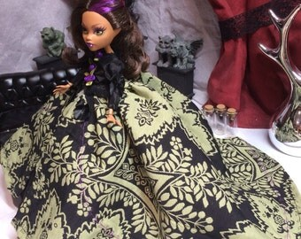 Black, Purple and Green Victorian Inspired Gown with Embroidered Accents for your Monster High Doll