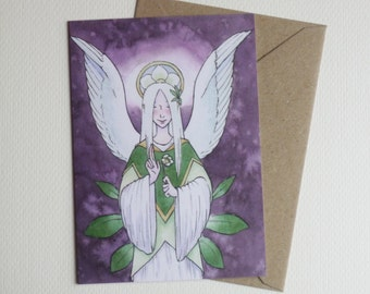 Hellebore Angel - Christmas Greeting Card - Traditional Watercolour