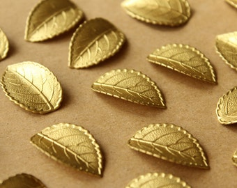 4 pc. Raw Brass Veined Leaves: 26mm by 16mm - made in USA - RB-699