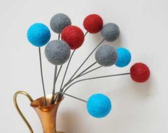 Felt pom pom flowers craspedia bouquet multicolor wool balls turquoise grey red arrangement stem floral Easter Billy buttons teal aqua