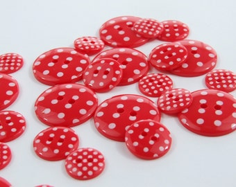 13mm Polka Dot Buttons - Red [B0008]