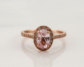 Oval Peach Pink Sapphire Diamond Halo Ring in 14K Rose Gold