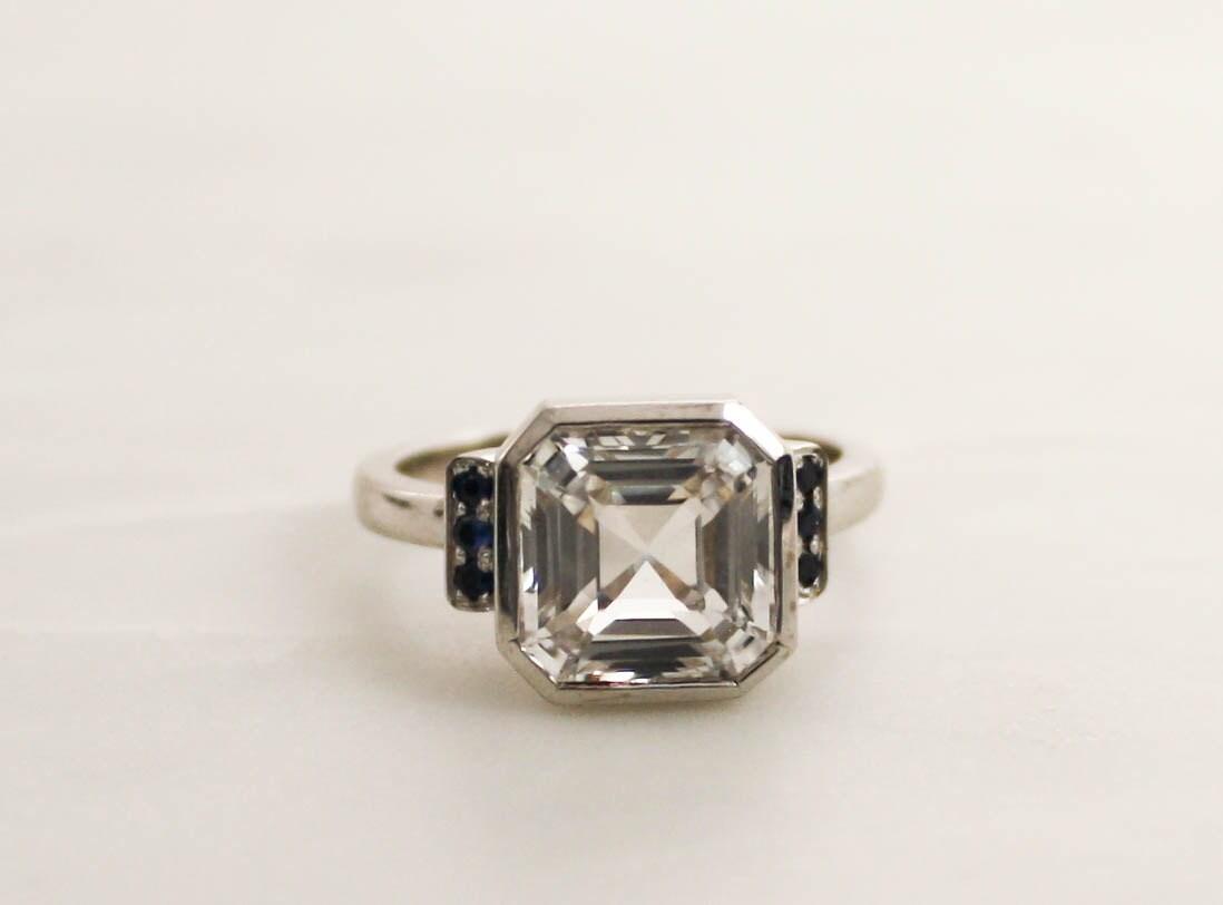 Asscher Cut White Sapphire Bezel Ring in 14K White Gold