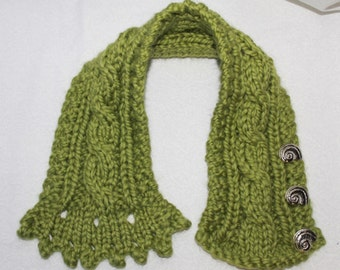 Fishermans Wife Cowl,  Cable Knit Cowl, Knitted Cowl, Cable Knit Scarf,  Color Name Sweet Grass (Green)