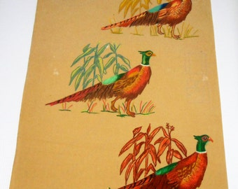 Vintage Artex, Painting, Pheasants, Birds, Felt, Liquid Embroidery, Craft Supplies, Tri Chem, Poster, Retro Wall Art, Fall Decor