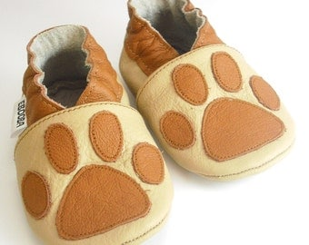 soft sole baby shoes leather infant kids children girl boy gift paw print brown 0-6 m garçon fille chaussons  cuir souple ebooba PW-5-BE-M-1
