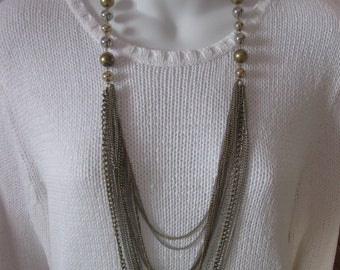 Vintage necklace chain and ball / chain necklace and beads