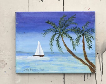 "Original Art Canvas Ocean Scene 14x11"" OOAK. 100% of the profits go directly to artists with disabilities Item 42 Jeff P."