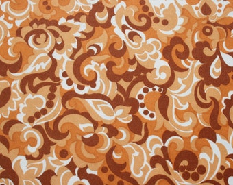 Vintage 70s Mod Polyester Fabric, Rusty Brown Paisley Flower Jersey Knit Fabric, Stretchy 1970s Retro Dress Blouse Fabric, 4 2/3 yards