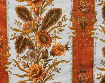 Vintage Orange Flower VAT Cotton Fabric, Orange Brown Floral Mod Retro, Pillow fabric material, 1 yard
