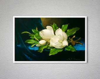 Giant Magnolias on Blue Velvet Cloth by Martin Johnson Heade -  Poster Paper, Sticker or Canvas Print