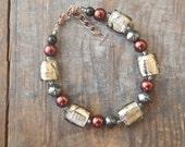 grey and plum beaded bracelet rustic Fall jewelry boho metallic Christmas party winter OOAK
