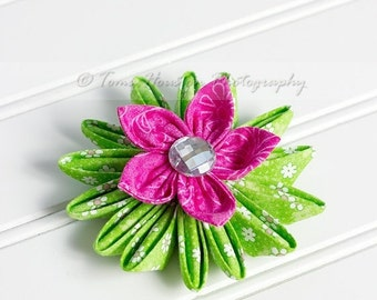 ON SALE Kanzashi Flower Hair Clip, Headband, Hair Pin, Brooch in Pink and Green