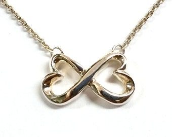 """Vintage Tiffany and Co Sterling Silver Double Heart Pendant Necklace 16""""."""