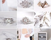 Jessica's custom made set of engagement ring and wedding bands