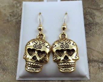 Gold Tone Pewter Sugar Skull Dangle Earrings on Gold Filled Ear Wires-1923