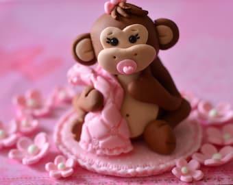 Baby monkey cake topper set