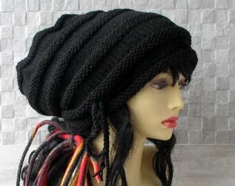 Dreadlock Accessories, Large head hat, Mens dreadlock beanie, Black Woman Men Slouchy Beanie, dread tam