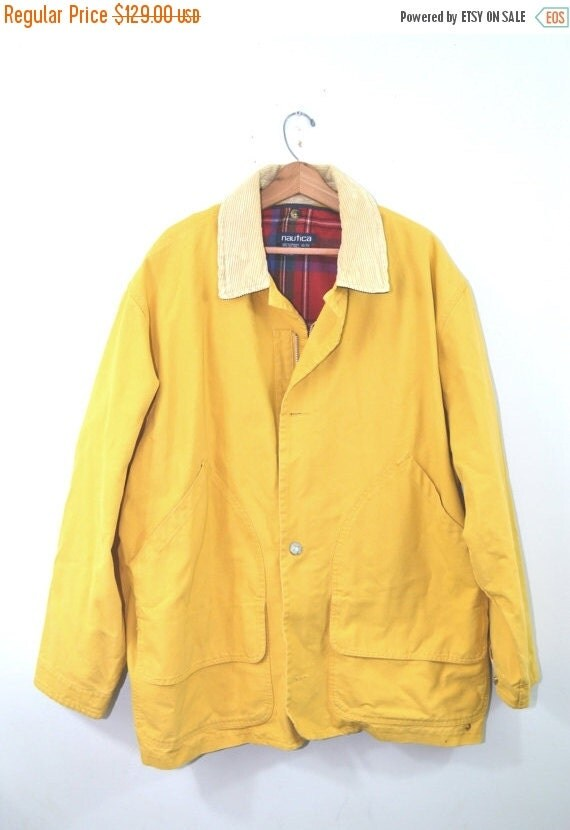 ON SALE Vintage Nautica Jacket Nautical Jacket Fishermans Jacket Yellow Jacket Men's Polo Sport Jacket Yacht Sailing Jacket Wool Coat XL Tal