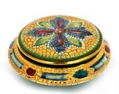"SALE Vintage Italian Hand Painted Trinket Box ,Golden Gilt Dresser Box ,Ceramic Jewelry Box ,""Mosaic"" Ring Box"