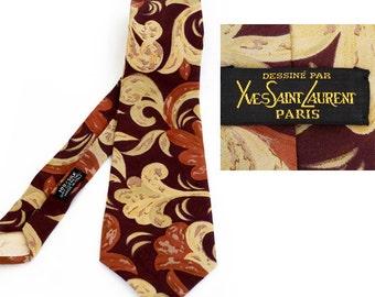 Authentic Yves Saint Laurent Paris necktie , Haute Couture Designer Man Tie ,Vintage Silk Necktie