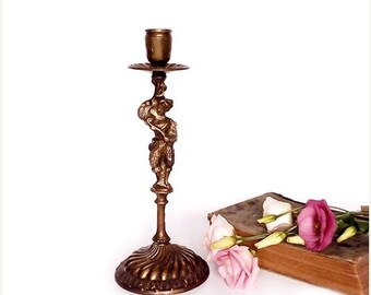 SALE Antique Bronze Candle Holder , French Bronze Candle Holder .