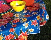 "60"" Oil Cloth Tablecloth Round BLUE Hibiscus (NO Hole) WHITE Trim Oilcloth Vinyl Outdoors Umbrella Patio Wipe Clean"