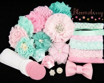 DIY 30 pcs Flower Headband Kit - Aqua/Pink Color Set - Flower Headband Kit - Pink Flower Kit-Flowers ,Elastic,Rhinestones, Felt and Bow