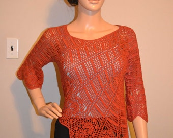 Ginger Love Sight Hand Made Crochet Shirt / Size 0 to 20