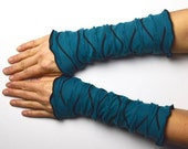 Arm Warmers Wrist Warmers  jersey wave teal colored romantic go out