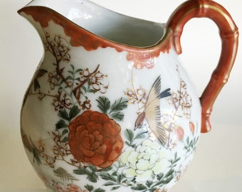 antique kutani red floral milk pitcher