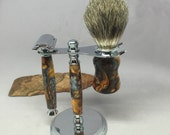 Classic Safety Razor with Matching Stand and brush made from Molten Metal Acrylic with chrome hardware - Shave with Style!