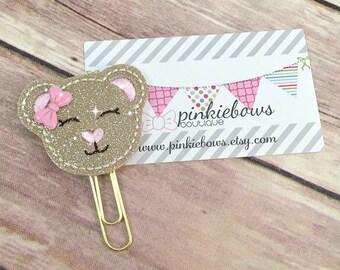 Pink/Gold/Love Bear/Sparkle Applique Paper Clip/Journal Marker/Bookmark/Planner Clip