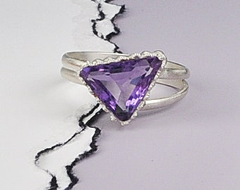 Amethyst Sterling Silver Ring, Rectangle Amethyst Ring, Sterling Silver and Amethyst Ring, One Of A Kind Amethyst Ring, Amethyst Jewelry