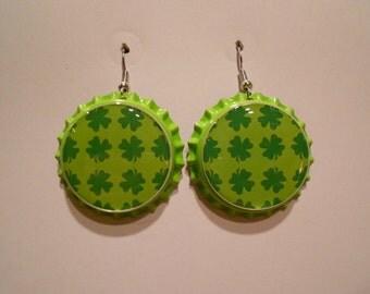 Four Leaf Clover St. Patrick's day bottle cap earrings