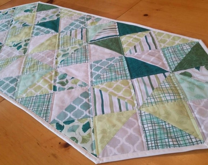 Featured listing image: Spring Quilted Table Runner, Modern Home Decor, Table Linens, St Patrick's Day, Home Decor, Green, FreshHome Decor, Spring Home Decor, Verde