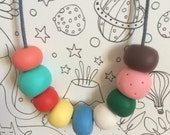 9 hand shaped beads necklace by Curmilla, OAK, Handmade Jewellery, Hansel and Gretel