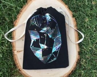 Holographic Geode Drawstring Bag - Black
